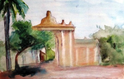 Watercolor print Eileen painted of a location in her hometown while a child.