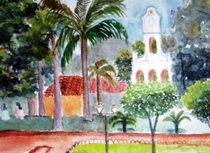 Watercolor print Eileen painted of a location in her childhood hometown