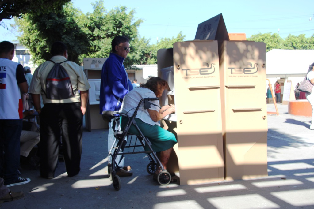 Voter booths accommodate physically challenged voters