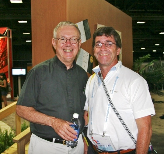 Pastor Emeritus, Don Seiple and Brian at international AIDS conference in Washington, D.C. in 2012 in Global Village